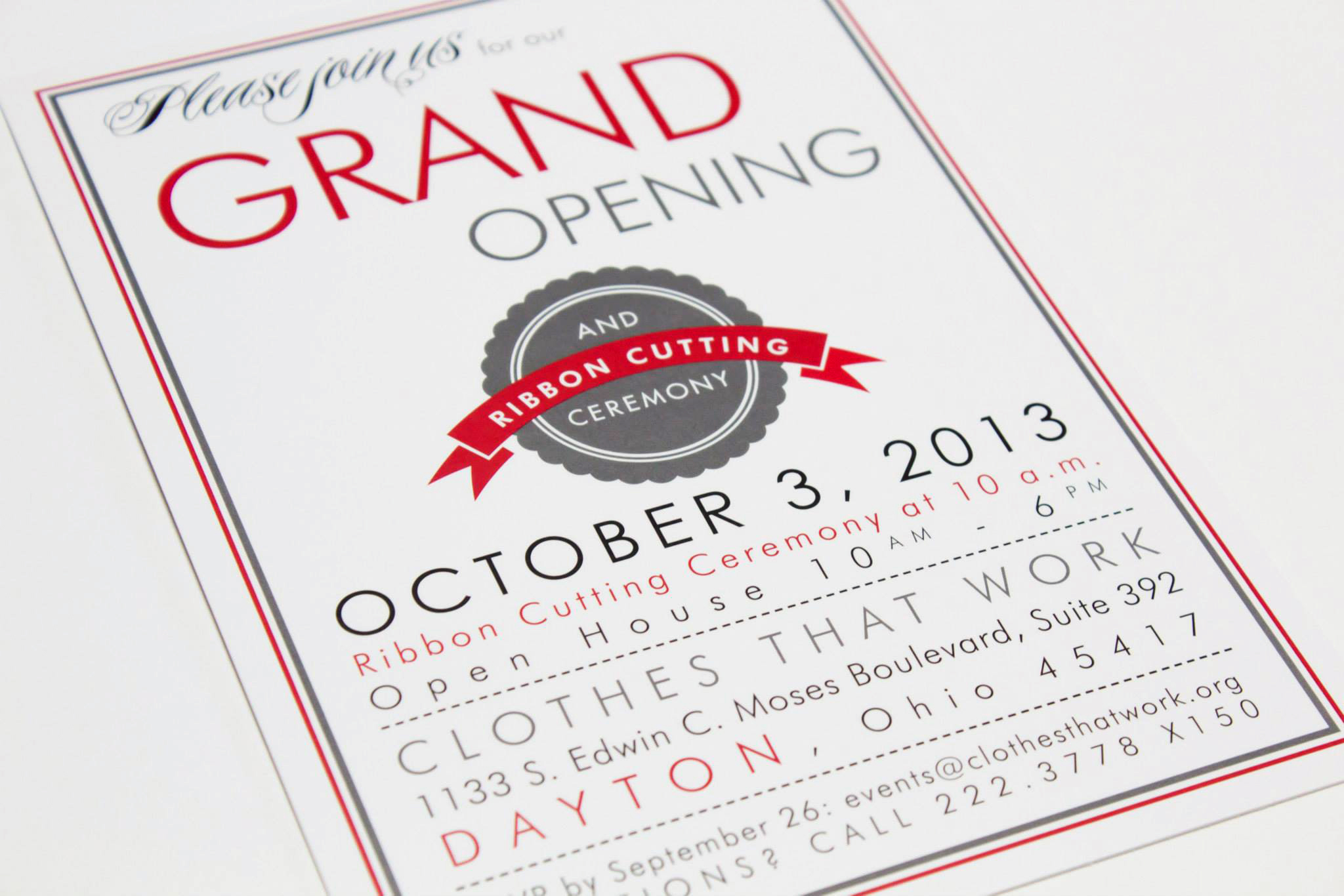 Clothes That Work – Grand Opening Party Invitations
