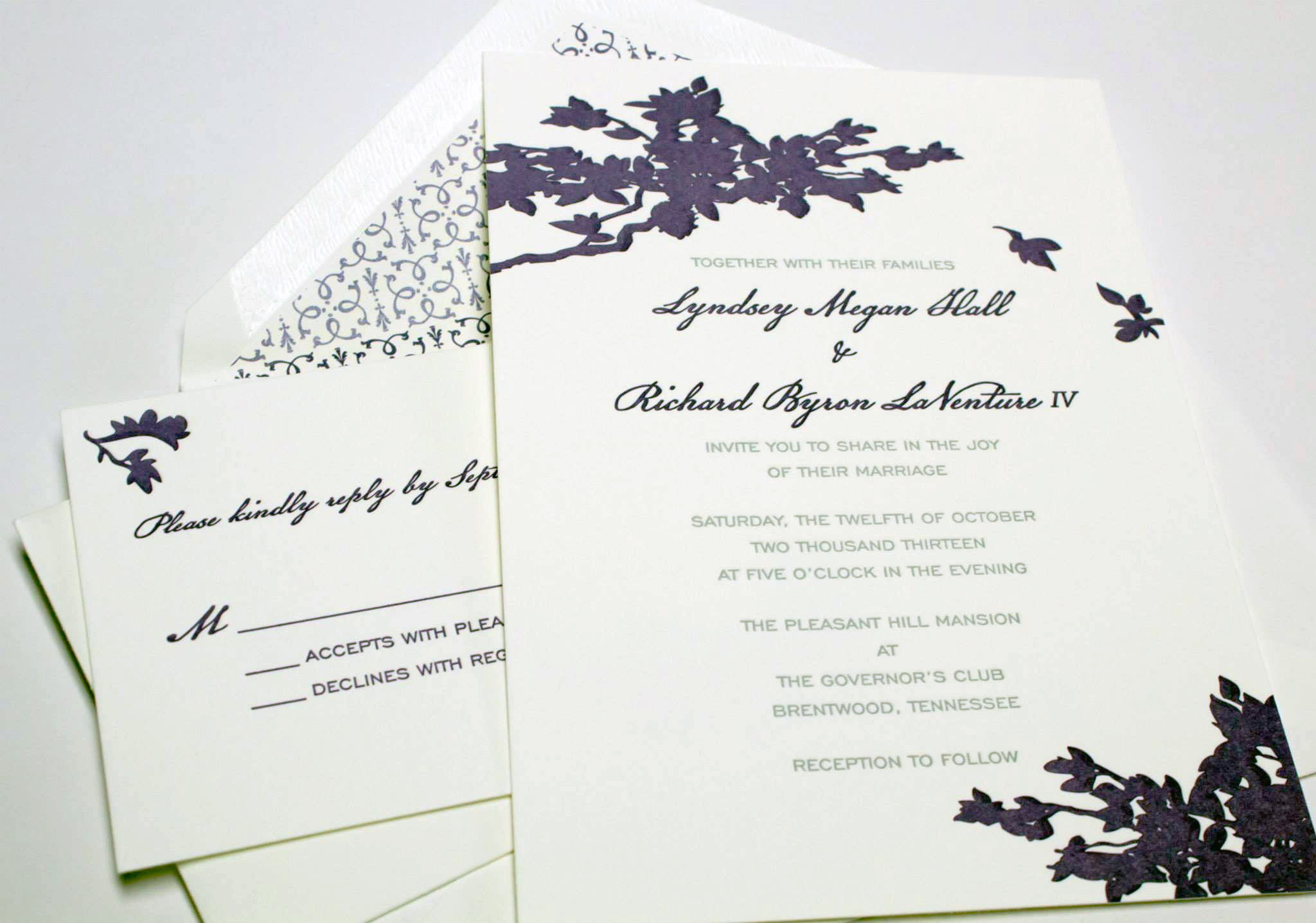 letterpress purple invitation