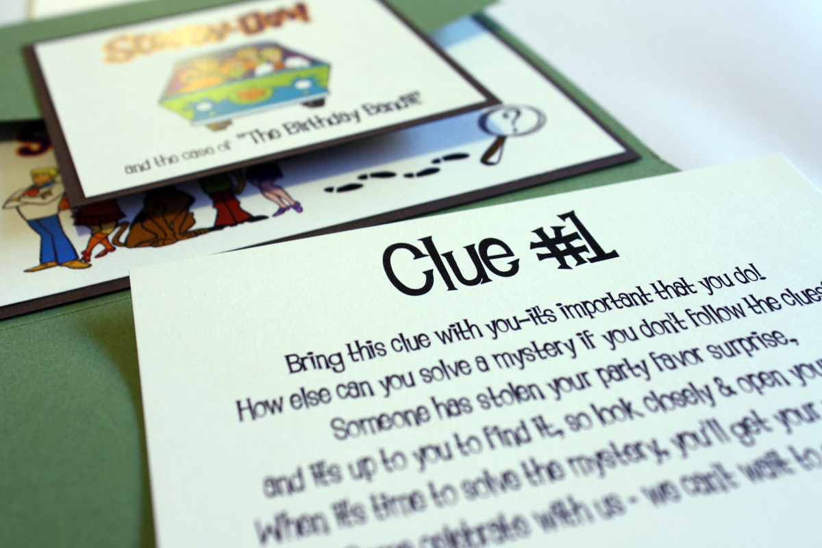Scavenger Hunt Birthday Party – Clue Party Invitations