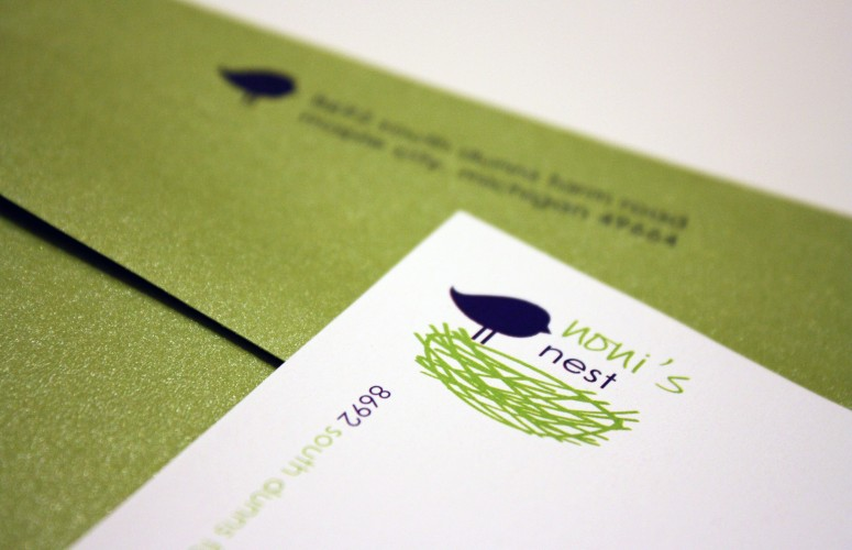 bird and nest stationery