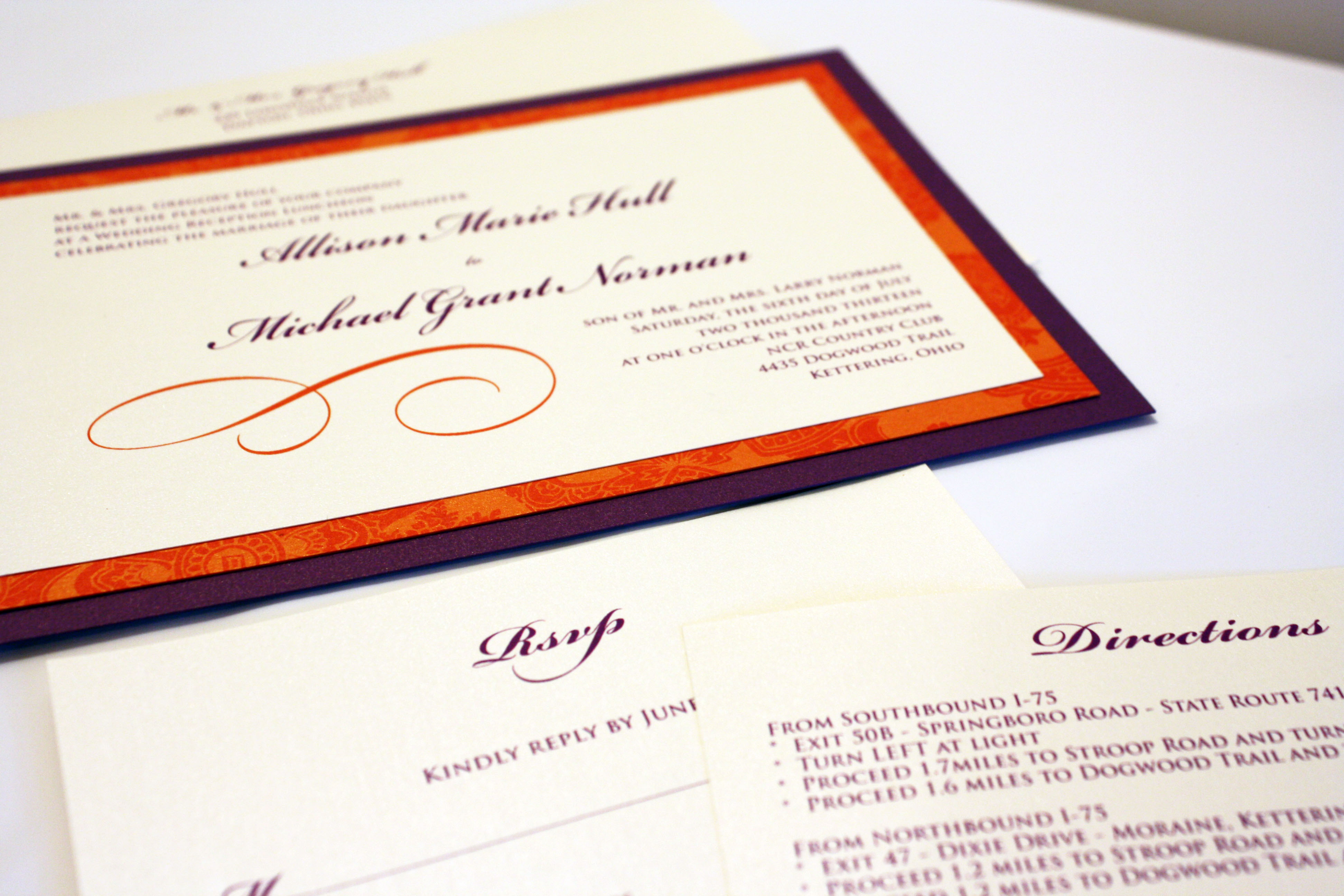 orange and purple invitation
