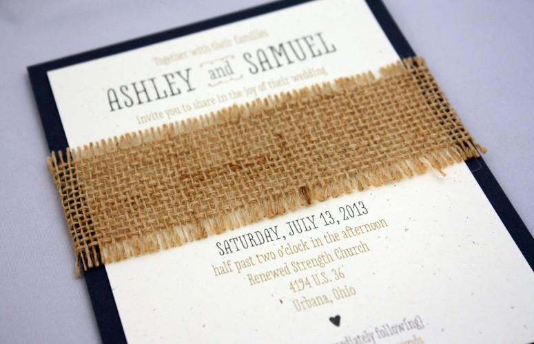 burlap invitation