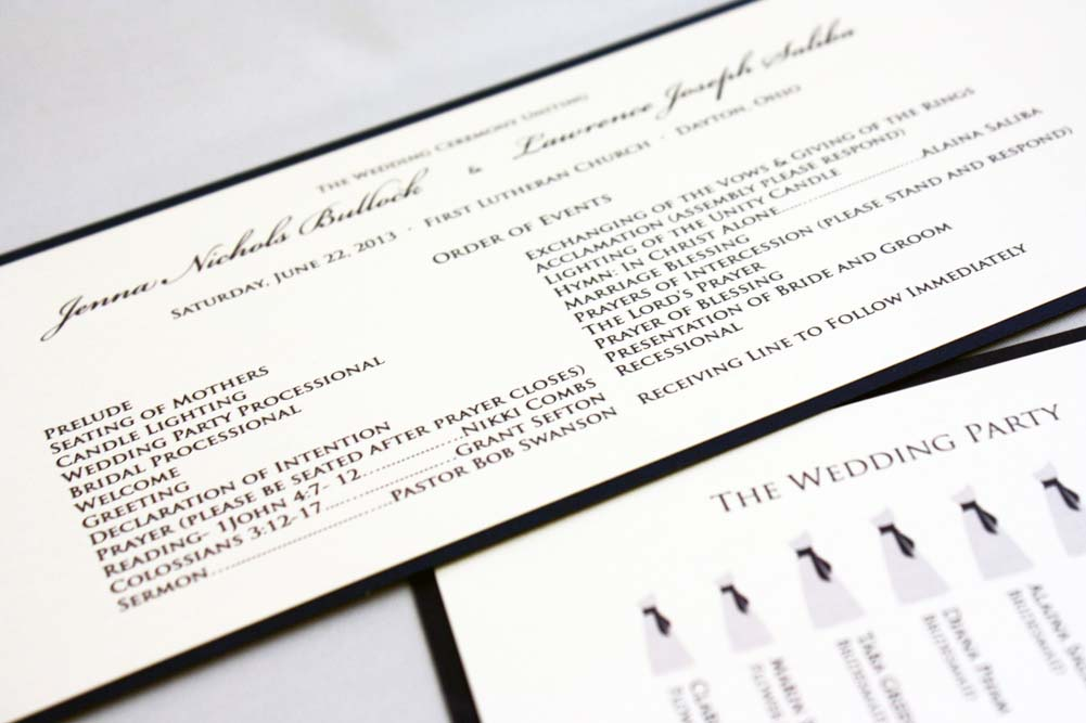Bridal Party Silhouette Programs